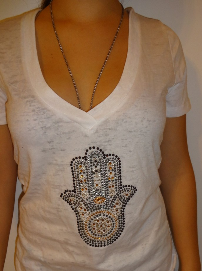 Small Hamsa Gold Silver Crystal T-Shirt   $ 27.89