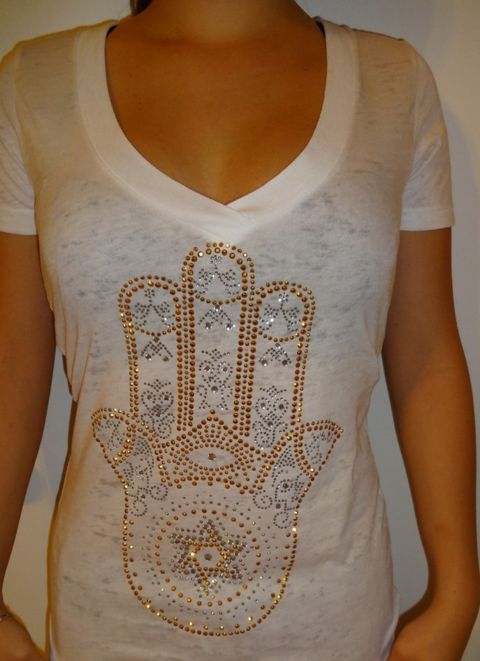 LARGE HAMSA GOLD SILVER CRYSTAL - US$ 32.89